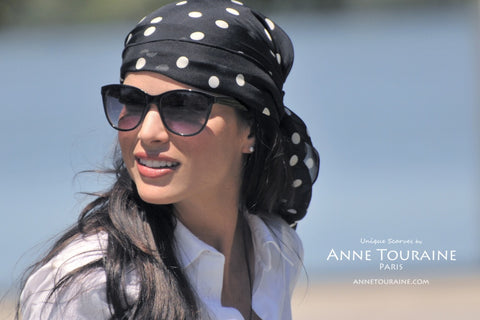 Pirate black polka dot scarf  by ANNE TOURAINE Paris™ and sunglasses for a summer look