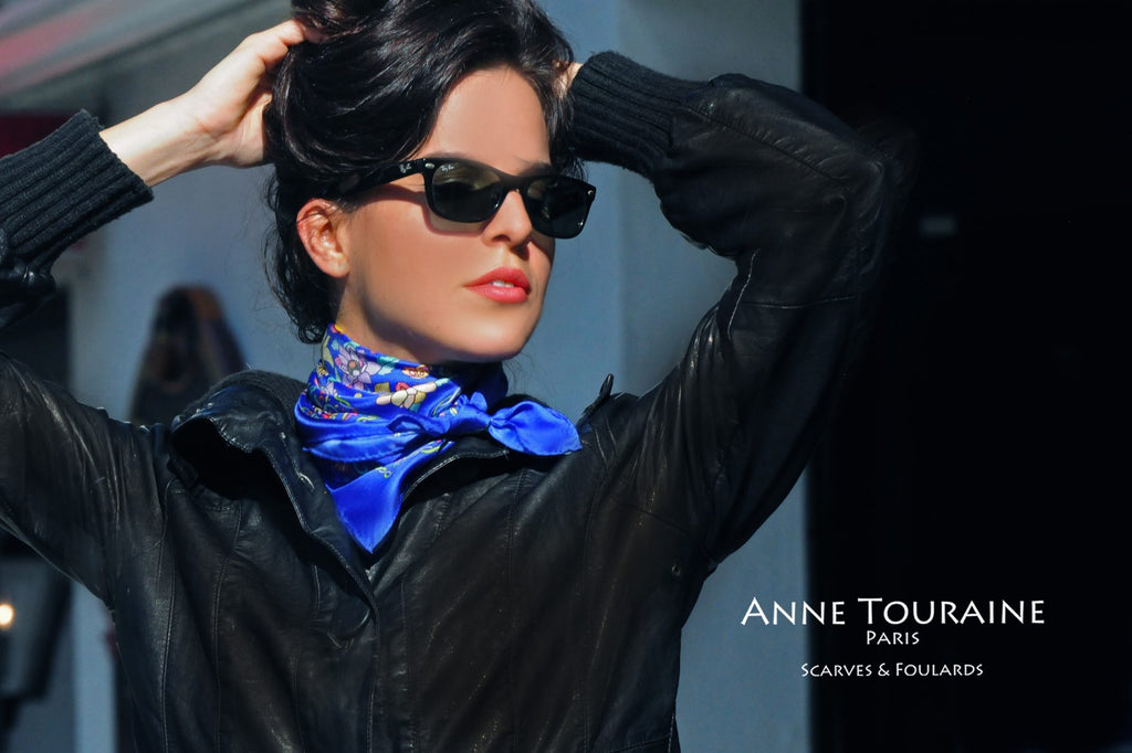 French silk scarves by ANNE TOURAINE Paris™: Floral blue scarf as a small kerchief