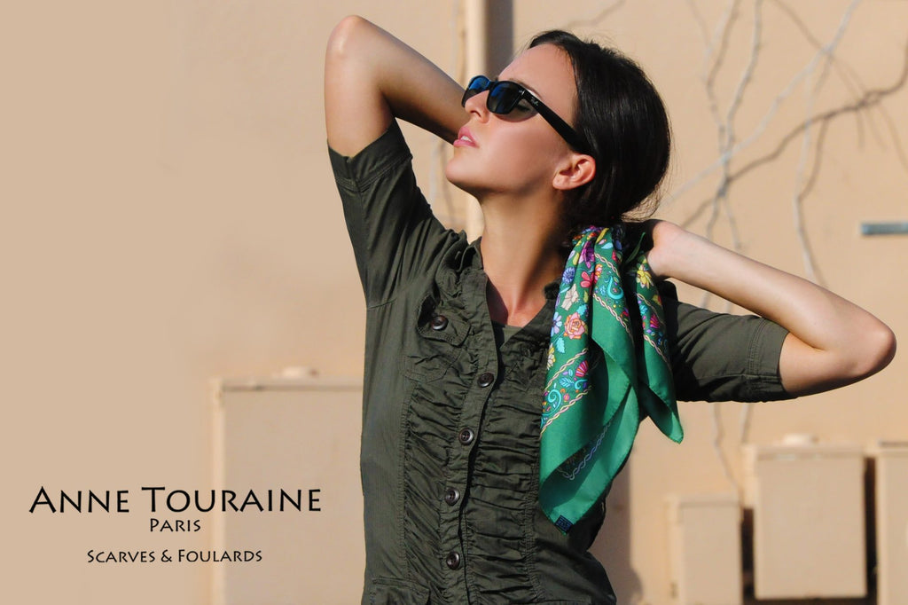 French silk scarves by ANNE TOURAINE Paris™: Floral green scarf around a low ponytail