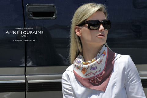 Marsala French silk scarf by ANNE TOURAINE Paris™; as a neck scarf