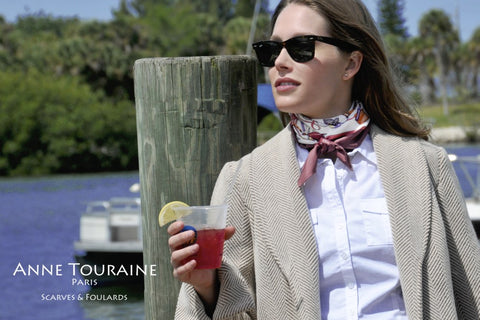 Marsala French silk scarf by ANNE TOURAINE Paris™ as a neck scarf