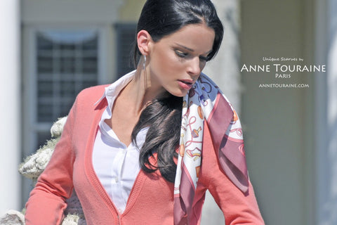 Marsala French silk scarf by ANNE TOURAINE Paris™; tied in the hair