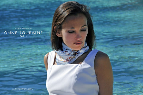 French scarves: blue nautical scarf by ANNE TOURAINE Paris™