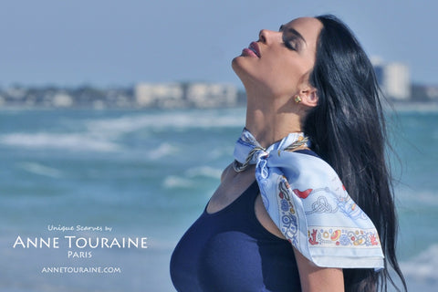 French scarves: blue nautical scarf by ANNE TOURAINE Paris