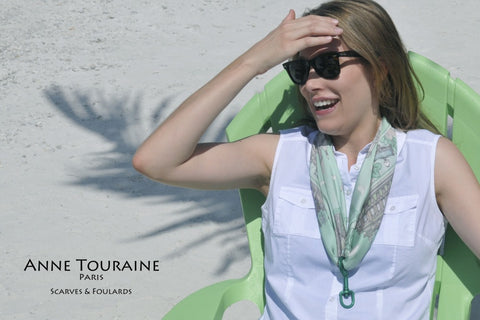 Paris scarf, green silk, by ANNE TOURAINE Paris™ featured with a green bolt snap for a cute necklace