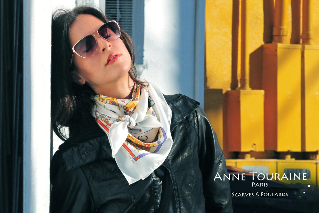 French silk scarves by ANNE TOURAINE Paris™: Zodiac astrology white scarf tied as a fluffy front neck scarf
