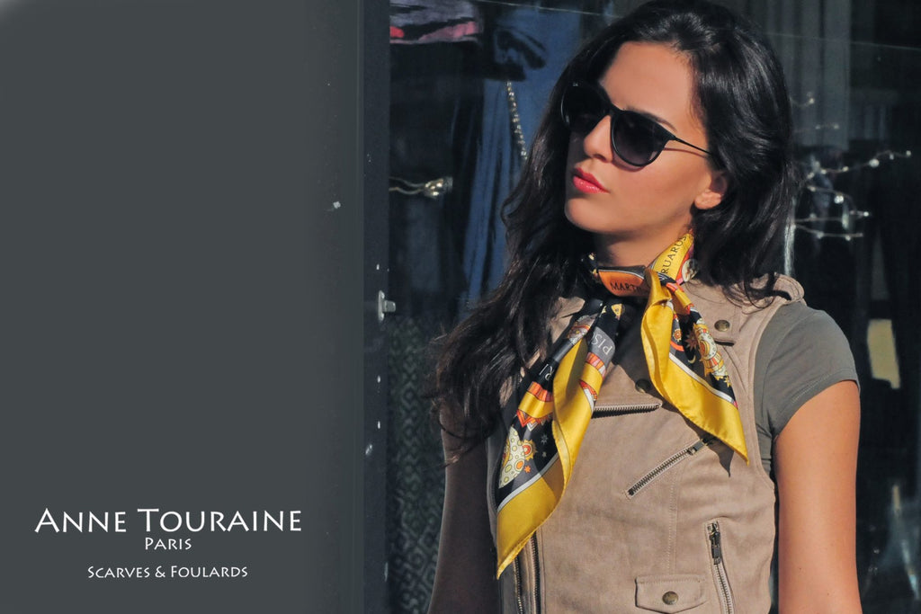 French silk scarves by ANNE TOURAINE Paris™: Zodiac astrology yellow scarf tied as a short neck scarf