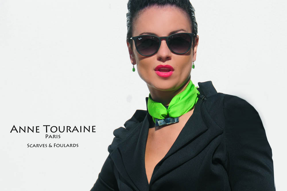 French silk scarves by ANNE TOURAINE Paris™: green silk twilly tied as a necklace with a black mother of pearl square ring (GEO ring)