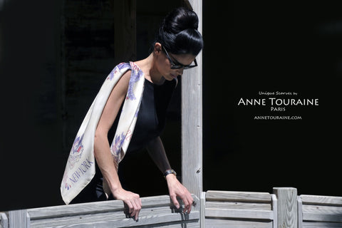 Paris New York silk scarf by ANNE TOURAINE Paris™ over a little black dress