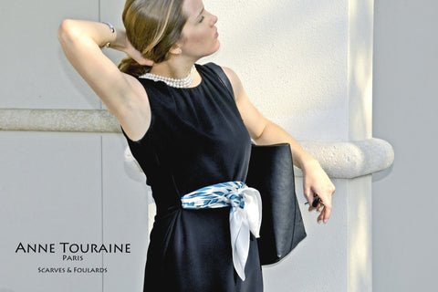 Blue and white graphic silk scarf by ANNE TOURAINE Paris™ tied as belt on a LBD