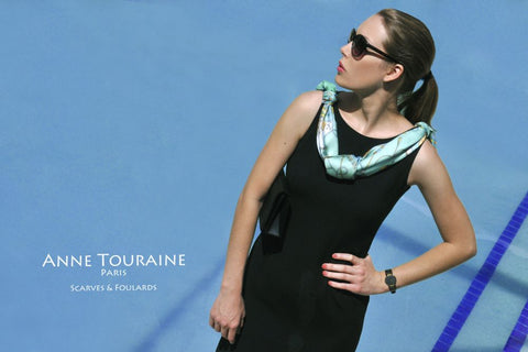 Green silk scarves: design The Silk Road, a unique scarf by ANNE TOURAINE Paris™