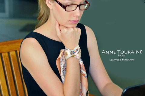 Russian inspired scarves: peach silk scarf by ANNE TOURAINE Paris™ tied around the wrist with a scarf ring