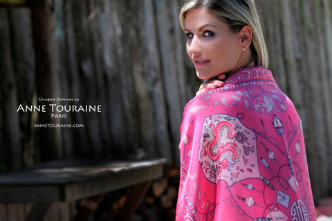 French silk scarves by ANNE TOURAINE Paris™: tied as a shoulder wrap