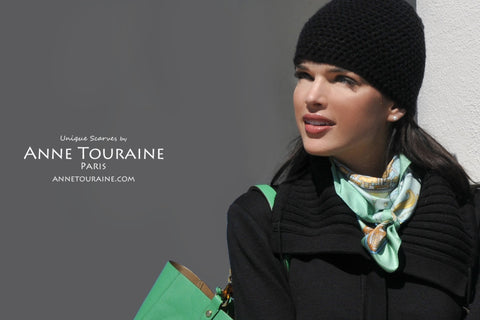 Chinese inspired silk scarf by ANNE TOURAINE Paris™, neon green color as a winter scarf