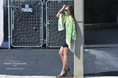 Extra large silk scarf by ANNE TOURAINE Paris: green and yellow and tied as a shoulder wrap