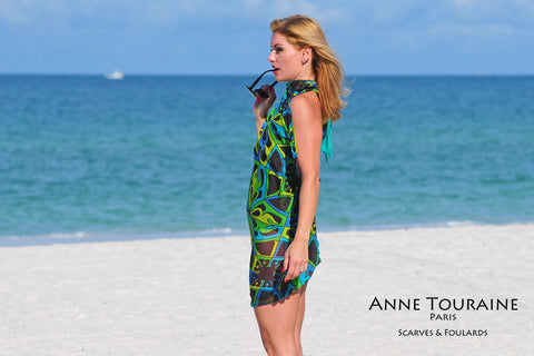 ANNE TOURAINE Paris™ extra large silk chiffon scarves; How to wear: beach dress