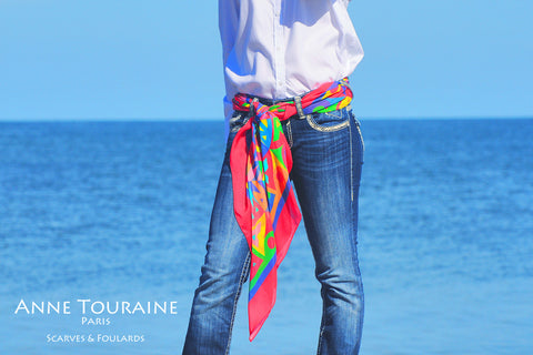 ANNE TOURAINE Paris™ extra large silk chiffon scarves; How to wear: silky belt