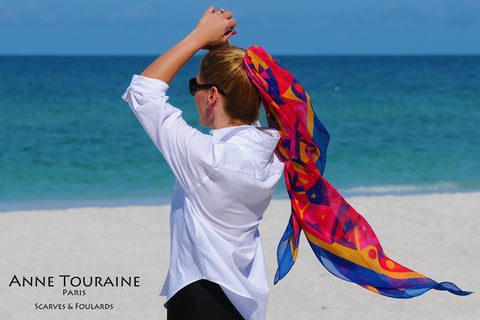 ANNE TOURAINE Paris™ extra large silk chiffon scarves; How to wear: pony tail