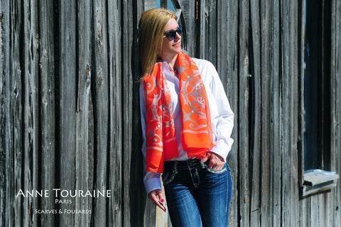 ANNE TOURAINE Paris™ extra large silk chiffon scarves; How to wear: loose around the neck