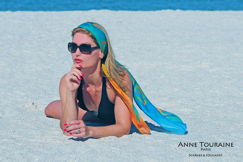 ANNE TOURAINE Paris™ extra large silk chiffon scarves; How to wear: summer headband