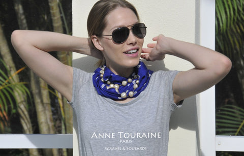 Blue polka dot scarf by ANNE TOURAINE Paris™ turned into an infinity scarf and worn with pearls