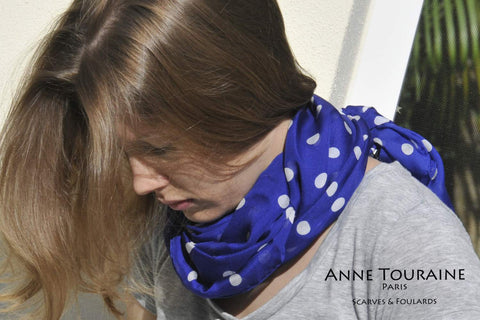 Blue polka dot scarf by ANNE TOURAINE Paris™ DIY infinity scarf around the neck