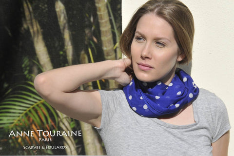 Blue polka dot scarf by ANNE TOURAINE Paris™ turned into an infinity scarf