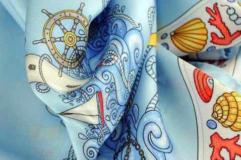 NAUTICAL scarves - crystal blue color: an exclusive collection of silk scarves for ladies designed by ANNE TOURAINE Paris™