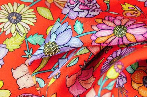 FLORAL scarves - red orange color: an exclusive collection of silk scarves for ladies designed by ANNE TOURAINE Paris™
