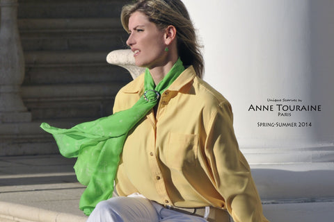 oblong chiffon silk scarf by ANNE TOURAINE Paris™, cat pattern, green color