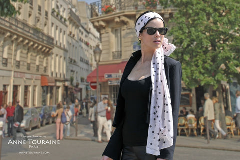 oblong chiffon silk scarf by ANNE TOURAINE Paris™, polka dot, pink color