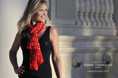 oblong chiffon silk scarf by ANNE TOURAINE Paris™, polka dot, red color