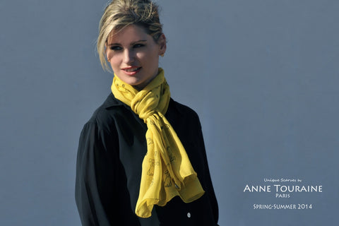 oblong chiffon silk scarf by ANNE TOURAINE Paris™, dog pattern, yellow color