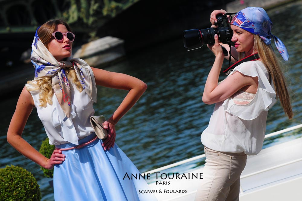French silk scarves by ANNE TOURAINE Paris™:Paris- New York scarves; tied as modern headscarves