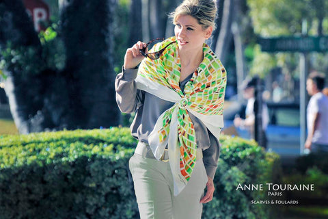 silk scarves by ANNE TOURAINE Paris™: trendy graphic op-art pattern on an extra large silk scarf