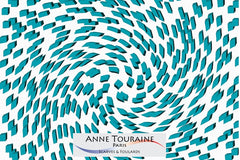 silk scarves by ANNE TOURAINE Paris™: trendy graphic op-art pattern, teal color