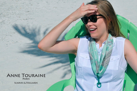 ANNE TOURAINE Paris™ scarves: pale green silk scarf tied as a silk necklace
