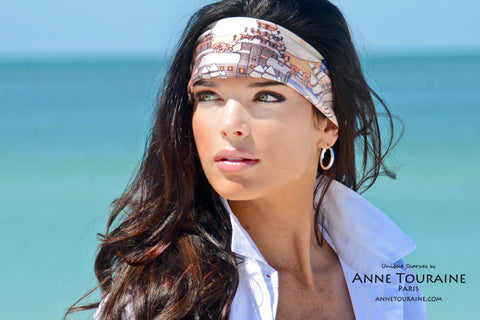 ANNE TOURAINE Paris™ scarves: silk scarf as a summer headband low on the forehead