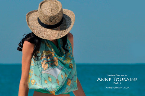 ANNE TOURAINE Paris™ scarves: green silk scarf tied a halter top and straw hat; the perfect beach outfit