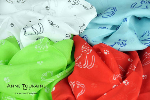 silk-scarves-scarf-stole-oblong-chiffon-cats-pattern-grey-white-turquoise-green-pink-ANNE TOURAINE Paris™