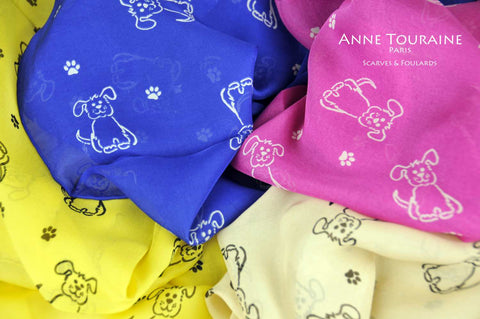silk-scarves-scarf-stole-oblong-chiffon-dogs-pattern-yellow-beige-blue-pink-ANNE TOURAINE Paris™