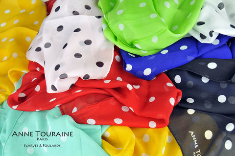 silk-scarves-scarf-stole-oblong-polka-dots-red-blue-white-black-champagne-orange-green-pink-ANNE TOURAINE Paris™