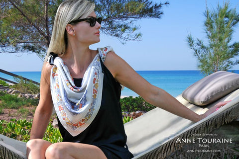 Nautical silk scarf, grey by ANNE TOURAINE Paris™ tied on a little black dress