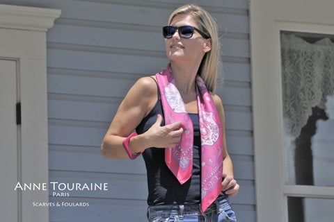 French silk scarf, pink color, by ANNE TOURAINE Paris™. Casual neck style and a pair of jeans