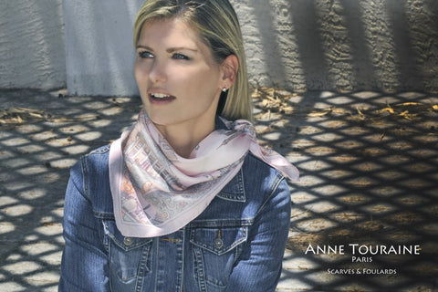 French silk scarf Paris, pink color, by ANNE TOURAINE Paris™ tied as a kerchief