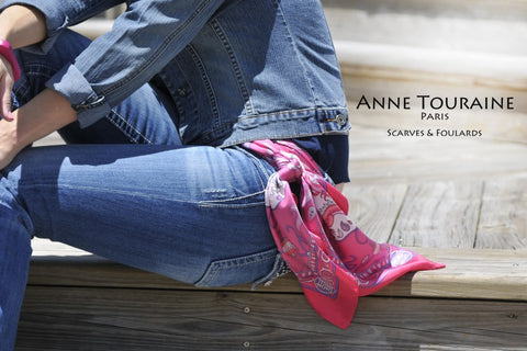French silk scarf, pink color, by ANNE TOURAINE Paris™. Tied as a flowing semi belt on a pair of jeans