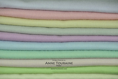 Cashmere silk pashmina scarves by ANNE TOURAINE Paris™; soft and precious pashmina available in a large array of pastel colors