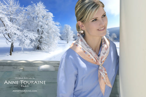 Winter inspired silk scarf by ANNE TOURAINE Paris™, peach color as a winter scarf