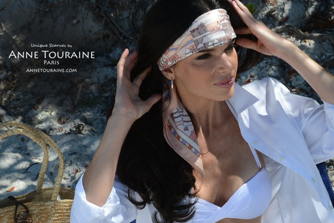 Peach silk scarf by ANNE TOURAINE Paris™ tied low on the forehead