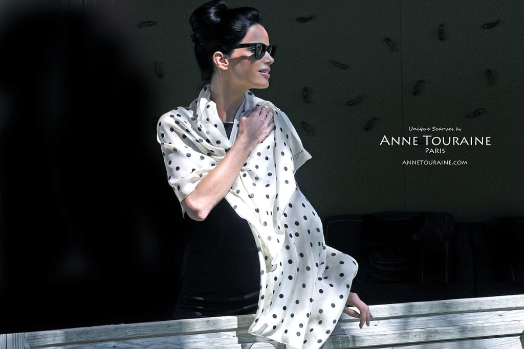 Chiffon silk scarves by ANNE TOURAINE Paris™: champagne polka dot scarf tied as a shoulder wrap